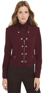 White House | Black Market Military Oxblood Cropped Burgundy Blazer