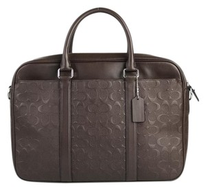Coach Leather Business Work Singature Monogram Laptop Bag