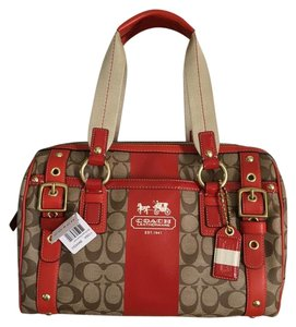 Coach Satchel in Geranium/Khaki