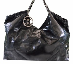 Chanel Logo Chain Patent Leather Hobo Bag