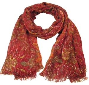 Lauren Ralph Lauren Red Paisley Cotton Blend Sequin Elizabeth Fringe Oblong Wrap Scarf
