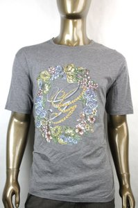 Gucci Grey W New Men's Cotton T-shirt W/Gg Logo Flower Print 2xl 343517 11037 Shirt