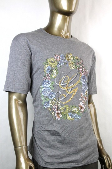 Gucci Grey W New Men's Cotton T-shirt W/Gg Logo Flower Print 2xl 343517 11037 Shirt Image 1