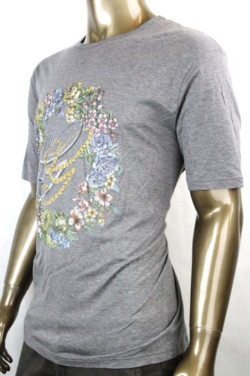 Gucci Grey W New Men's Cotton T-shirt W/Gg Logo Flower Print 2xl 343517 11037 Shirt Image 3