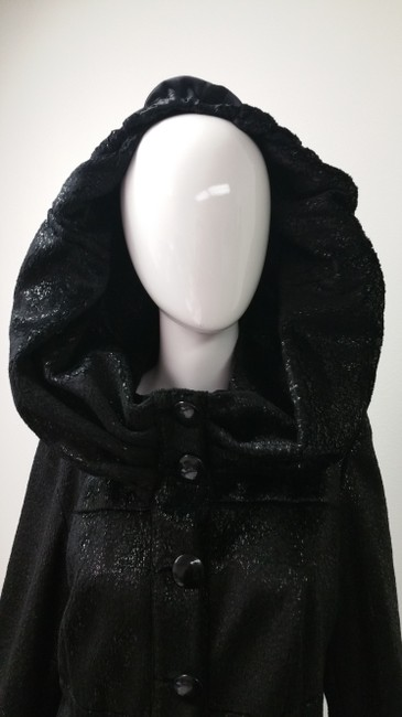 ANIMA Hooded Lace Trim Unique Trench Coat Image 1