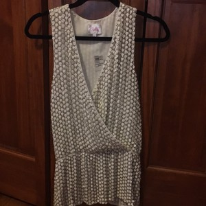 Parker Balmain New Year's Eve Party Beaded Sequins Top White