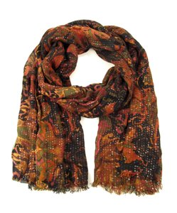 Lauren Ralph Lauren Black Paisley Cotton Blend Sequin Elizabeth Fringe Oblong Wrap Scarf