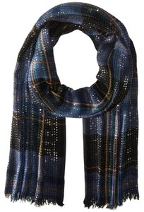 Lauren Ralph Lauren Blue Black Plaid Cotton Blend Sequin Katelin Fringe Oblong Wrap Scarf