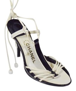Chanel Ankle Tie Heels Patent Leather Black/White Sandals