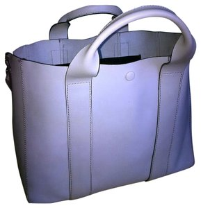 Gap Leather Top Stitching Tote in Grey / Gray