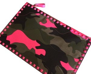 Valentino Pink, Camo And Black Clutch