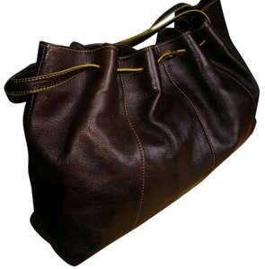 Kenneth Cole Leather Tumbled Drawstring Satchel in Espresso (Brown) with Citron (Yellow) Trim