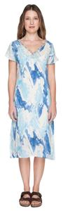 Blue Off White Maxi Dress by Johnny Was Linen Cap Sleeve Embroidered