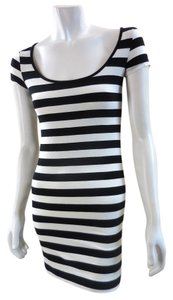 H&M short dress Black White Striped Tee Scoop Neck 7328 on Tradesy