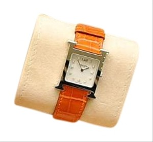 Hermès NEW H Hour MM Watch Stainless With Diamond Dial and Alligator