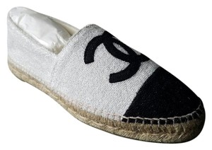 Chanel Espadrilles Espadrilles Size 38 Black and White Shimer Flats