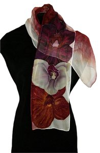 An Eclectic Artisan Handpainted Silk Orchid Floral Neck Scarf