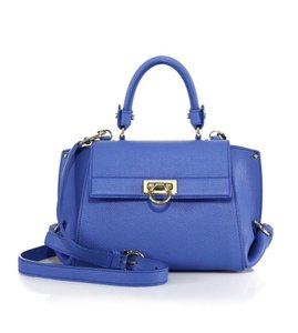 Salvatore Ferragamo Sofia Satchel in Blue Indigo Navy