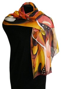 An Eclectic Artisan Handpainted Silk Shawl Scarf