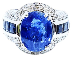 Dignity Jewels GIA 10.04CT NATURAL CEYLON BLUE SAPPHIRE 14K WHITE GOLD RING