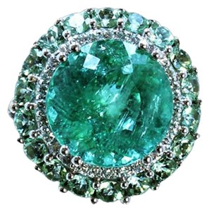 Dignity jewels 10.10CT NATURAL PARAIBA COPPER BEARING TOURMALINE 18K WHITE GOLD RING
