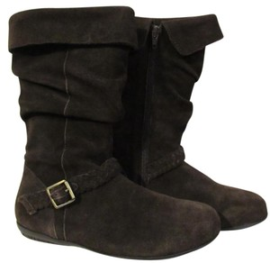 Boho Slouch Buckle Leather Brown Boots
