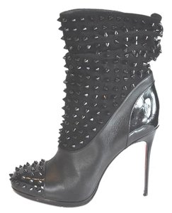Christian Louboutin Spike Wars 120 Patent/nappa Leather Size 39 Black Boots