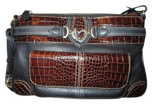 Brighton Leather Croc Organizer Cross Body Bag