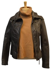 AllSaints All Leather Elliott Consignment Designer Consignment Brown Jacket