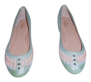 Belle by Sigerson Morrison Twisted Border Spike Studs Light Pink/Light Green Flats