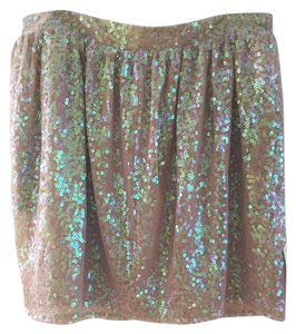 BCBGeneration Mini Skirt Taupe, holographic sequins