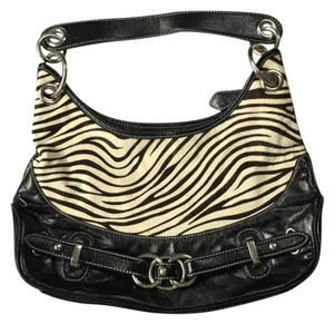Wilsons Leather Satchel in Black with Zebra Print