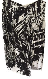Helmut Lang Abstract Print Skirt Black and white
