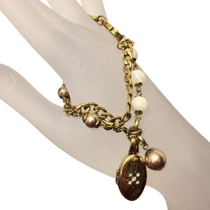 Fossil Fossil Double Strand Stainless Steel Shiny Gold Charm Bracelet