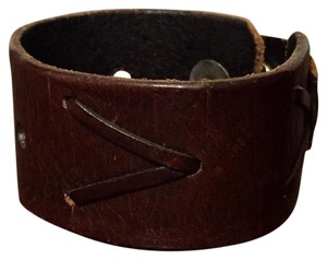 Anthropologie Vintage Distressed Leather Wristband Snap Button Bracelet