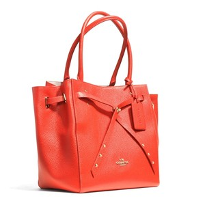 Coach Turnlock Tie Pebble Leather Tote in Watermelon Grey Birch