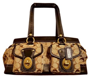 Coach Dark Brown Tan Large Shoulder Bag