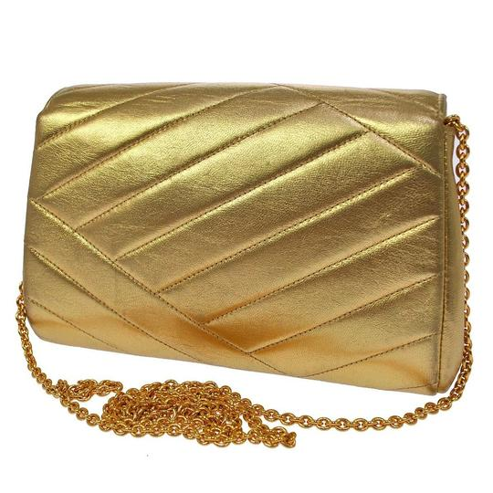 Chanel Metallic Champagne Quilted Lambskin Vintage Clutch W/ Rhinestone Cc Gold Cross Body Bag