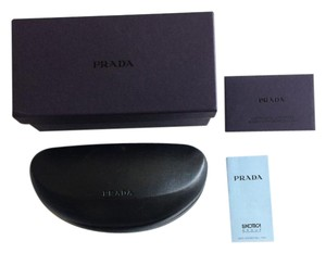 Prada black leather clamshell sunglass case with box and cleaning cloth