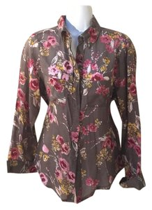 Mimi Chica Button Down Shirt Soft Brown w floral
