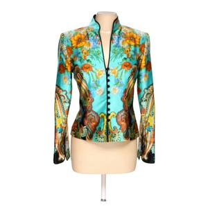 JS Collections Silk Print Bright Blazer