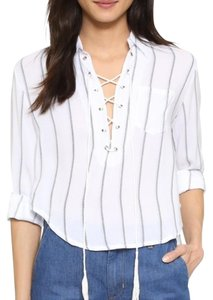 Faithfull the Brand Striped Crop Classic Top White