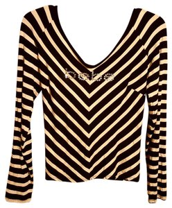 bebe Striped Black Tan Top BLACK/TAN