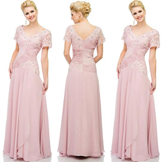 Baby Pink Lace-chiffon-georgette Pleated Lace Chiffon V Neck Formal Bridesmaid/Mob Dress Size 12 (L)