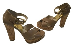 MICHAEL Michael Kors Wide Ankle Strap Gold Buckle Heels Brown patent leather on cork open toe Platforms