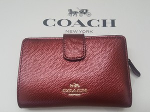 Coach NEW COACH Leather short Medium Wallet photo coins Metallic Red