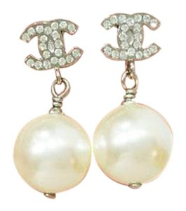 Chanel Chanel CC Rhinestone Pearl Dangle Piercing Earrings
