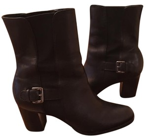 Cole Haan Silver Buckle Leather Midcalf Black Boots