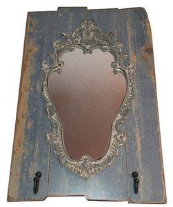 Other DISTRESSED WOOD ANTIQUED WALL MIRROR With 2 Hooks