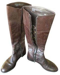 Etienne Aigner Monogram Leather Chocolate Brown Boots